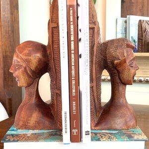 Other - Vintage Wood Carved African Bookends
